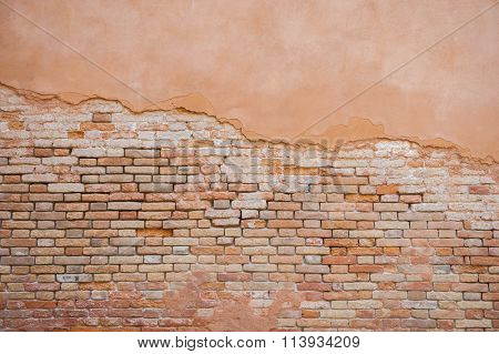 Brick wall in old city Venice Italy