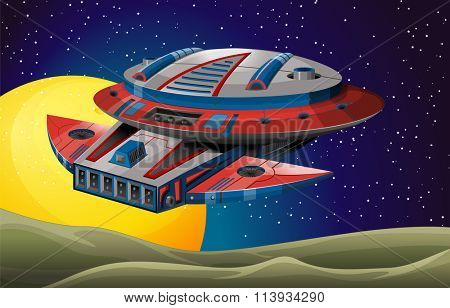 Spaceship flying in the dark space illustration
