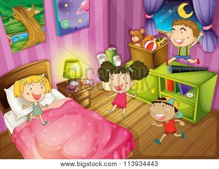 Children having fun in the bedroom illustration