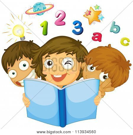 Children reading math book illustration