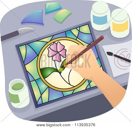 Illustration of a Man Making Homemade Stained Glass Art