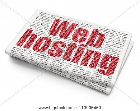 Web development concept: Web Hosting on Newspaper background