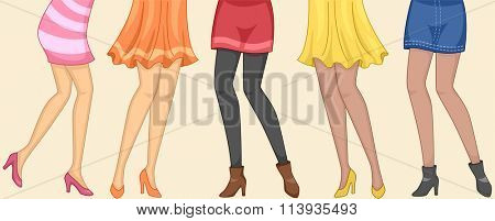 Cropped Illustration of Girls Wearing Different Attires