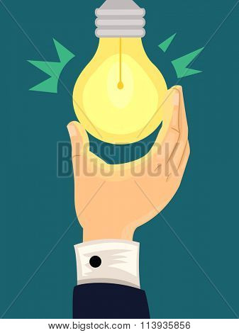 Illustration of a Light Bulb Lighting Up After Being Turned On