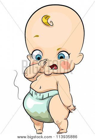 Illustration of a Baby Covering Her Nose After Smelling Her Diaper