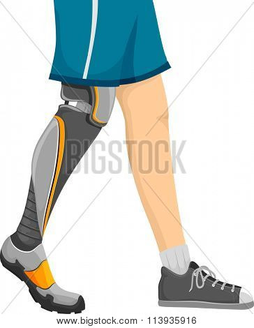 Cropped Illustration of a Man Walking with a Prosthetic Leg
