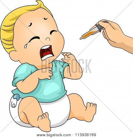 Illustration of a Crying Baby Refusing to Take His Medicine