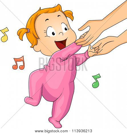 Illustration of a Baby Girl in a Onesie Dancing