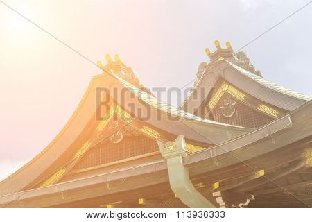 Japanese style roof at Osaka Tenmangu, Osaka, Japan, Asia.