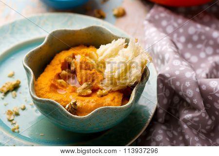 Carrot Dip With A Flat Cake.