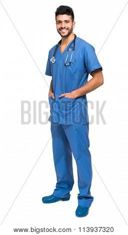 Handsome young male nurse isolated on white full length