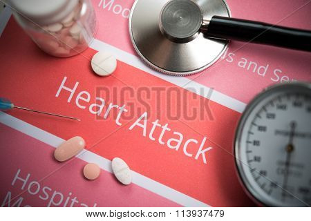 Heart attack related documents, medical tools and drugs