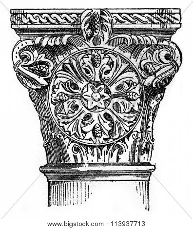 Capital Roman (xii century), Abbey Vezelay, vintage engraved illustration. Dictionary of words and things - Larive and Fleury - 1895.