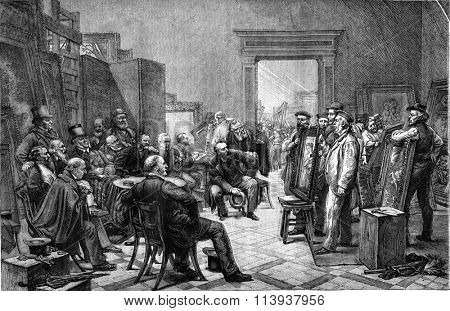 The English jury choosing the tables for the Universal Exhibition of 1878 in Paris, vintage engraved illustration. Magasin Pittoresque 1880.
