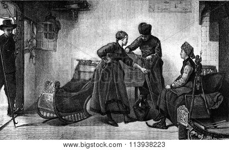 A winter scene in Friesland, Bishop table, vintage engraved illustration. Magasin Pittoresque 1880.