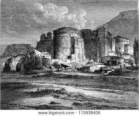 Pergamum, The old church of St John, which is supposed to built on the ruins of the Temple of Aesculapius, vintage engraved illustration. Magasin Pittoresque 1880.