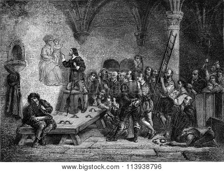 1877 Exhibition of Painting, Stella in Rome in 1698 by Claudius Jacquand, vintage engraved illustration. Magasin Pittoresque 1880.