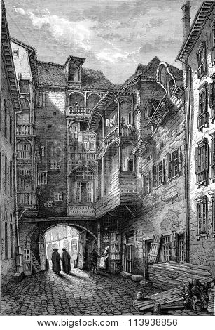 The former Carmelite convent in Rennes, vintage engraved illustration. Magasin Pittoresque 1880.
