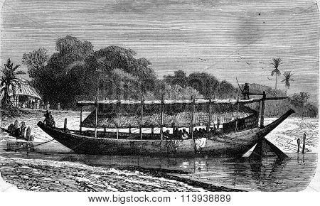 A boat on the Ganges, vintage engraved illustration. Magasin Pittoresque 1880.