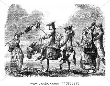 A country Party by Chodowiecki, vintage engraved illustration. Magasin Pittoresque 1878.