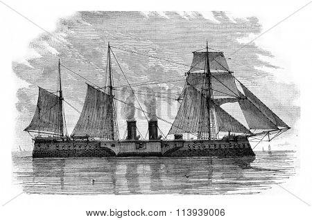 The Tegethoff Austrian battleship, vintage engraved illustration. Magasin Pittoresque 1878.