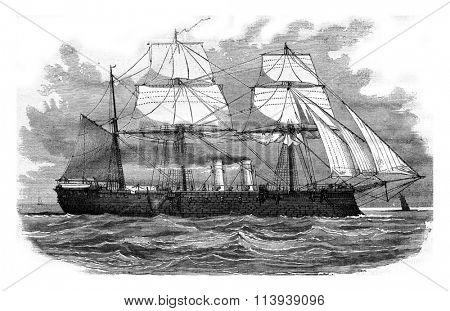 The Memdoohieh, Turkish battleship, vintage engraved illustration. Magasin Pittoresque 1878.