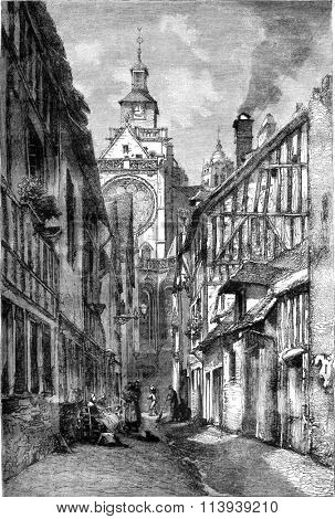 Impasse, Isle street. and Parish Church at Gisors, vintage engraved illustration. Magasin Pittoresque 1878.
