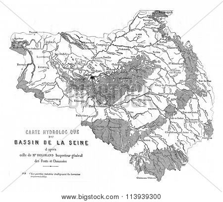 Seine basin, vintage engraved illustration. Magasin Pittoresque 1876.