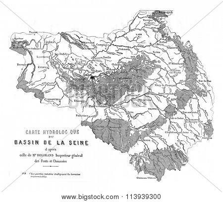 Seine basin, vintage engraved illustration. Magasin Pittoresque 1876.