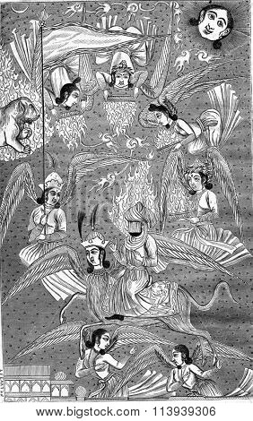 Muhammad led to heaven by the angel Gabriel, and after a Persian miniature, vintage engraved illustration. Magasin Pittoresque 1876.