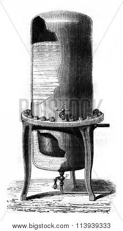 Compressed air filter, vintage engraved illustration. Magasin Pittoresque 1878.