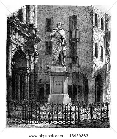 The Statue of Palladio and Ja Basilica in Vicenza, vintage engraved illustration. Magasin Pittoresque 1877.