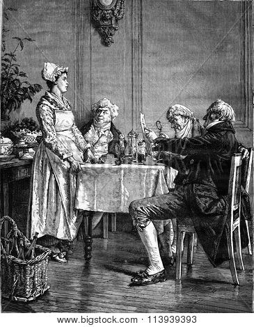 Note payable, painting by Eugene Leroux, vintage engraved illustration. Magasin Pittoresque 1876.