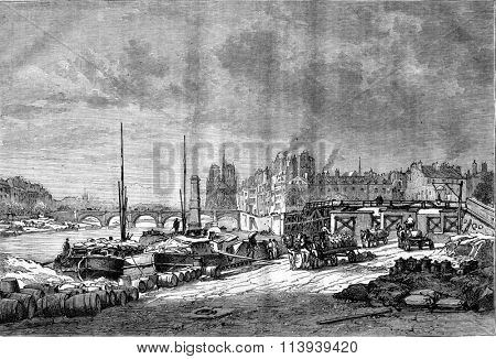 Wharf a view Henri Quatre before the bridge Saint Germain in Paris, vintage engraved illustration. Magasin Pittoresque 1877.