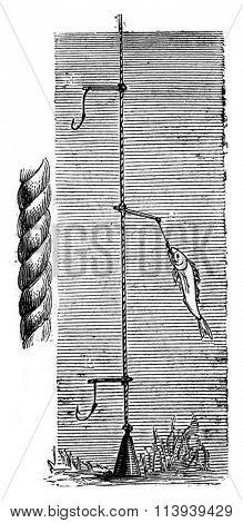 Paternoster fishing, vintage engraved illustration. Magasin Pittoresque 1876.