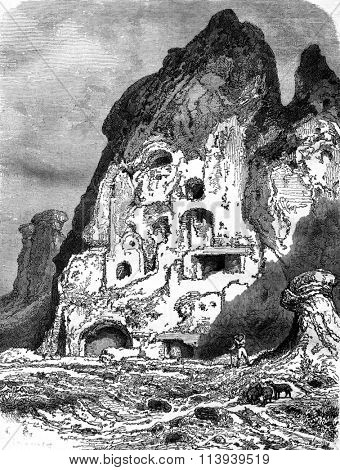 Volcanic Land for Perrier, Puy de Dome, vintage engraved illustration. Magasin Pittoresque 1878.