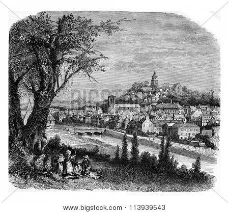 General view of Lannion, Sides-du-Nord, vintage engraved illustration. Magasin Pittoresque 1877.