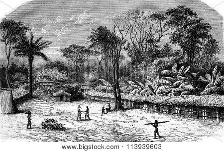 A village in Gabon, vintage engraved illustration. Magasin Pittoresque 1876.