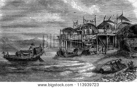 Poor housing in the port of Macao, China, vintage engraved illustration. Magasin Pittoresque 1876.