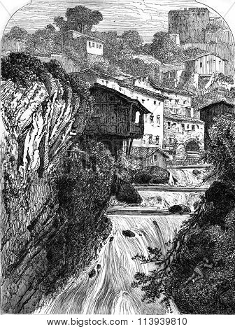 Banks of the Durolle, Thiers Puy de Dome, vintage engraved illustration. Magasin Pittoresque 1876.