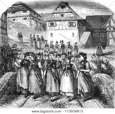 Alsace, Remembrance of the past, The Sunday walk to the village, vintage engraved illustration. Magasin Pittoresque 1876.