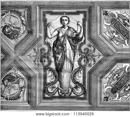 Castle of Saint-Roch, Fragment ceiling of the grand salon, vintage engraved illustration. Magasin Pittoresque 1876.