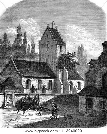 Le Pommier of the church of Bouillon Channel, vintage engraved illustration. Magasin Pittoresque 1876.