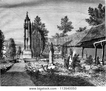 The Cemetery of Montivilliers Lower Seine, vintage engraved illustration. Magasin Pittoresque 1876.