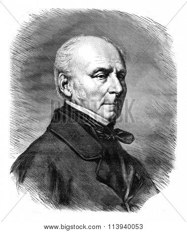 Laugier engraver intaglio, of after the portrait painted by his nephew, vintage engraved illustration. Magasin Pittoresque 1876.