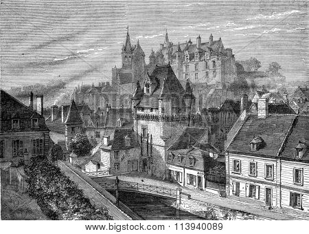 View of Loches, Gate of Cordeliers and Castle, vintage engraved illustration. Magasin Pittoresque 1876.