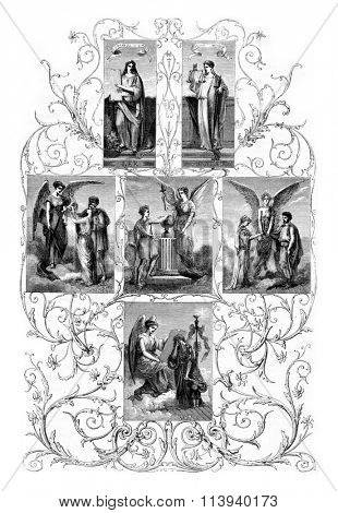 Decoration of the hall of the Town Hall of Arpajon, vintage engraved illustration. Magasin Pittoresque 1873.
