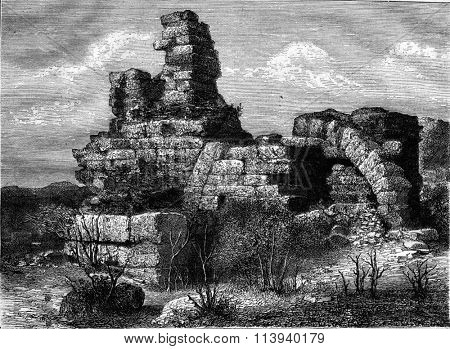 Ephesus, Central part of the ruins of the Temple of Diana, vintage engraved illustration. Magasin Pittoresque 1876.