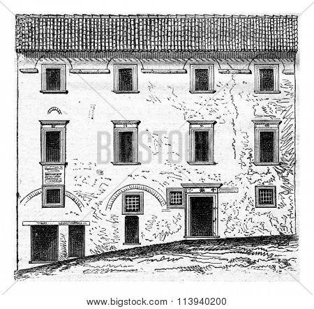 House of Raphael, Urbino, vintage engraved illustration. Magasin Pittoresque 1873.
