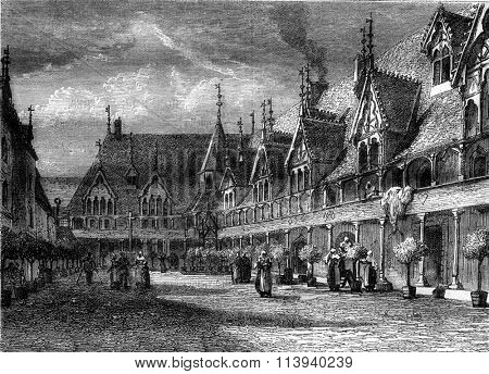 Hospices de Beaune, vintage engraved illustration. Magasin Pittoresque 1876.